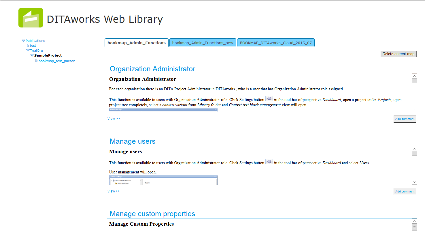 DITA content published to Liferay portal