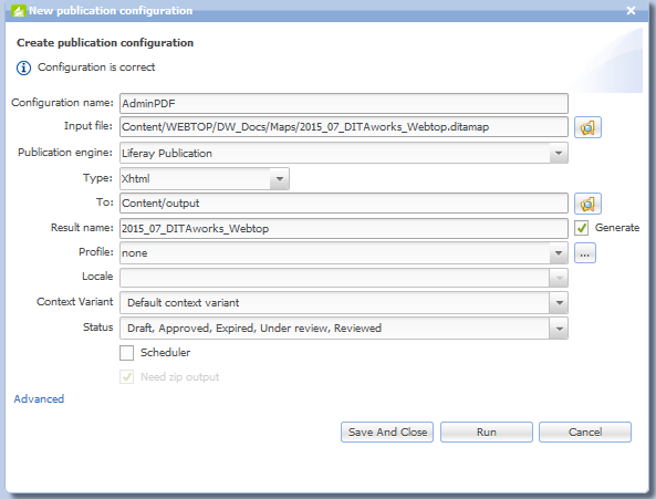Configuration profile for publishing to Liferay portal